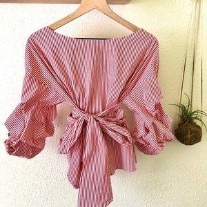 Zara striped wrap blouse